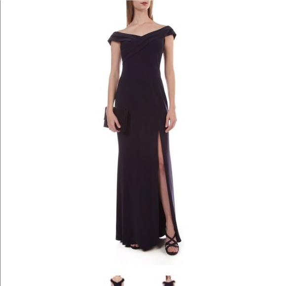 fd449780 Xscape Dresses | Navy Off The Shoulder Gown | Poshmark